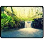 Waterfall River Nature Forest Double Sided Fleece Blanket (Large)  80 x60  Blanket Back