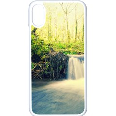 Waterfall River Nature Forest Iphone Xs Seamless Case (white)