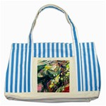Paint Acrylic Paint Art Colorful Striped Blue Tote Bag Front