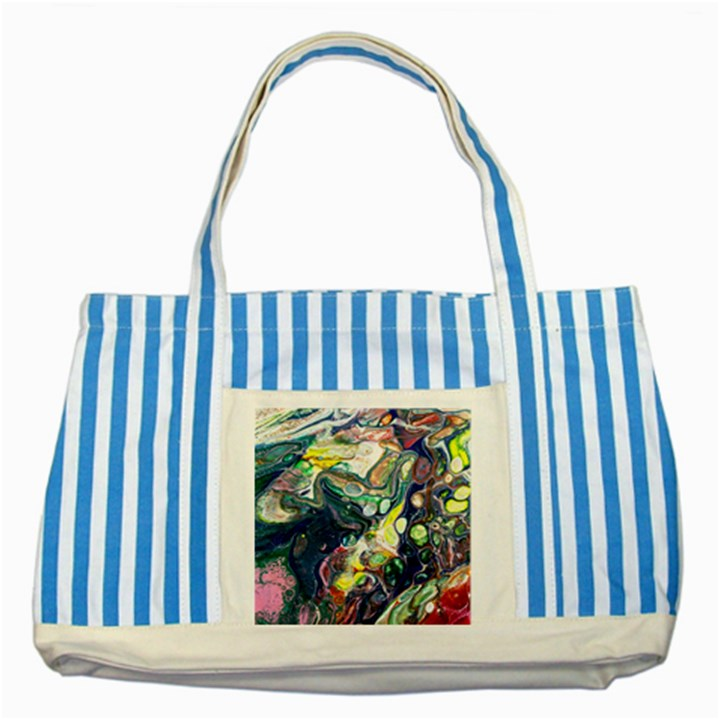 Paint Acrylic Paint Art Colorful Striped Blue Tote Bag
