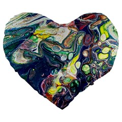 Paint Acrylic Paint Art Colorful Large 19  Premium Flano Heart Shape Cushions