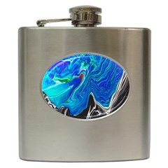 Paint Acrylic Paint Art Colorful Blue Hip Flask (6 Oz)