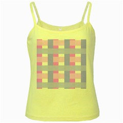 Gingham Checkered Texture Pattern Yellow Spaghetti Tank