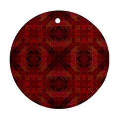 Maroon Triangle Pattern Seamless Round Ornament (two Sides)