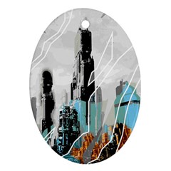 The City Of The Future Collage Ornament (oval)