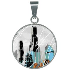 The City Of The Future Collage 25mm Round Necklace