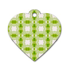 Seamless Wallpaper Background Green White Dog Tag Heart (two Sides)