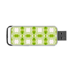 Seamless Wallpaper Background Green White Portable Usb Flash (one Side)