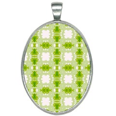 Seamless Wallpaper Background Green White Oval Necklace by Pakrebo