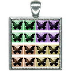 Seamless Wallpaper Butterfly Square Necklace