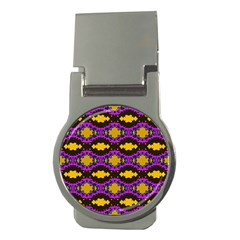 Seamless Wallpaper Digital Pattern Yellow Brown Purple Money Clips (round)