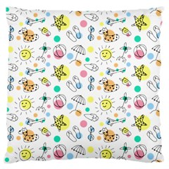 Summer Pattern Design Colorful Large Flano Cushion Case (two Sides)