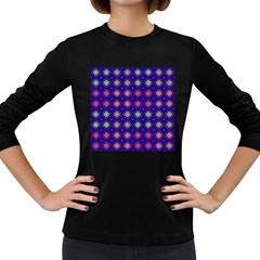 Flowers Pattern Ornament Symmetry Women s Long Sleeve Dark T Shirt