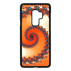 Fractal Rendering Spiral Twist Orange Samsung Galaxy S9 Plus Seamless Case(black) by Pakrebo