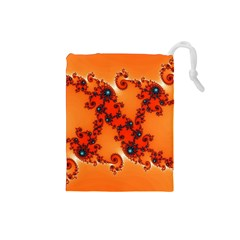 Fractal Rendering Spiral Curve Orange Drawstring Pouch (small) by Pakrebo
