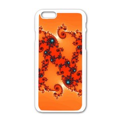 Fractal Rendering Spiral Curve Orange Iphone 6/6s White Enamel Case
