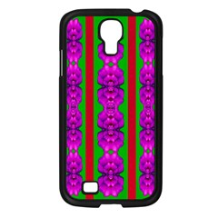 Love For The Fantasy Flowers With Happy Purple And Golden Joy Samsung Galaxy S4 I9500/ I9505 Case (black) by pepitasart