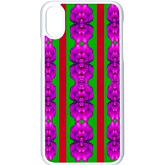 Love For The Fantasy Flowers With Happy Purple And Golden Joy Iphone X Seamless Case (white) by pepitasart