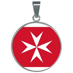 Civil Ensign Of Malta 30mm Round Necklace by abbeyz71