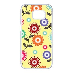 Colourful Flowers Spring Summer Floral Pattern Samsung Galaxy S7 Edge White Seamless Case by InspiredImages