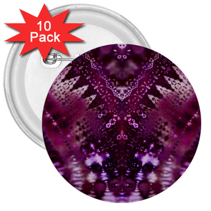 Pink fractal lace 3  Buttons (10 pack)