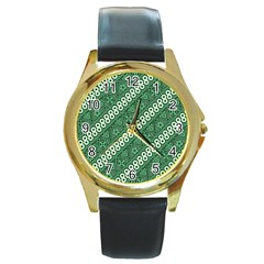 Batik Pattern Java Indonesia Round Gold Metal Watch