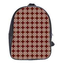 Brown Tiles Leaves Wallpaper School Bag (large)