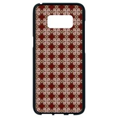 Brown Tiles Leaves Wallpaper Samsung Galaxy S8 Black Seamless Case