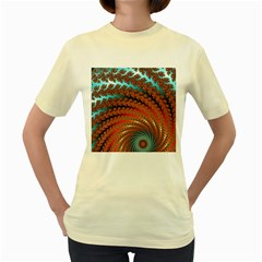Fractal Spiral Abstract Design Women s Yellow T Shirt