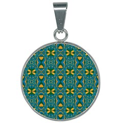 Seamless Wallpaper Pattern Art Pattern 25mm Round Necklace