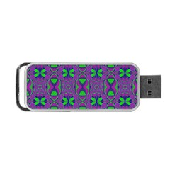 Seamless Wallpaper Pattern Ornament Green Purple Portable Usb Flash (one Side)