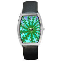 Fractal Abstract Rendering Barrel Style Metal Watch