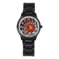 Fractal Rendering Spiral Twist Art Stainless Steel Round Watch