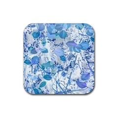 Cyan Floral Print Rubber Coaster (square)  by dflcprintsclothing