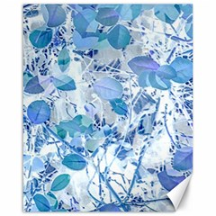 Cyan Floral Print Canvas 16  X 20  by dflcprintsclothing