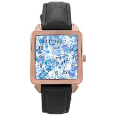Cyan Floral Print Rose Gold Leather Watch  by dflcprintsclothing