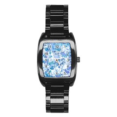 Cyan Floral Print Stainless Steel Barrel Watch by dflcprintsclothing