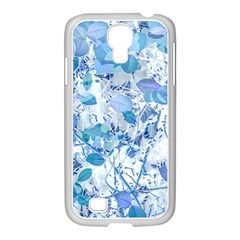 Cyan Floral Print Samsung Galaxy S4 I9500/ I9505 Case (white) by dflcprintsclothing