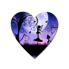 Cute Fairy Dancing In The Night Heart Magnet by FantasyWorld7