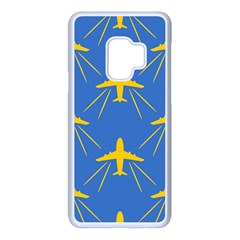 Aircraft Texture Blue Yellow Samsung Galaxy S9 Seamless Case(white) by Pakrebo