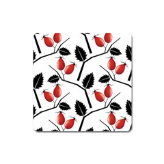 Rose Hip Pattern Branches Autumn Square Magnet