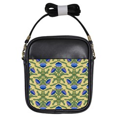 Pattern Thistle Structure Texture Girls Sling Bag