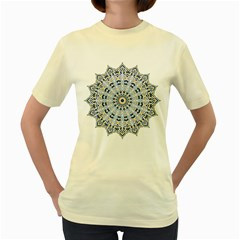 Arabesque Mandala Decorative Women s Yellow T Shirt