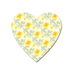 Floral Background Scrapbooking Yellow Heart Magnet by Pakrebo