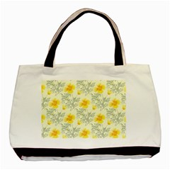 Floral Background Scrapbooking Yellow Basic Tote Bag (two Sides) by Pakrebo