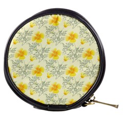 Floral Background Scrapbooking Yellow Mini Makeup Bag by Pakrebo