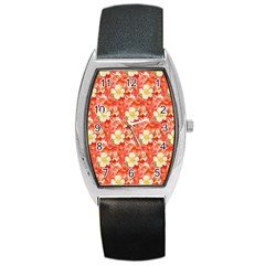 Background Images Floral Pattern Red White Barrel Style Metal Watch