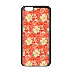 Background Images Floral Pattern Red White Iphone 6/6s Black Enamel Case