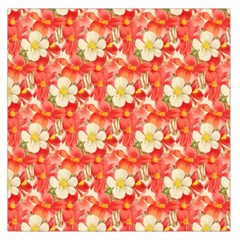 Background Images Floral Pattern Red White Large Satin Scarf (square)
