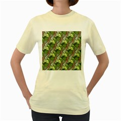 Leaves Seamless Pattern Design Women s Yellow T Shirt